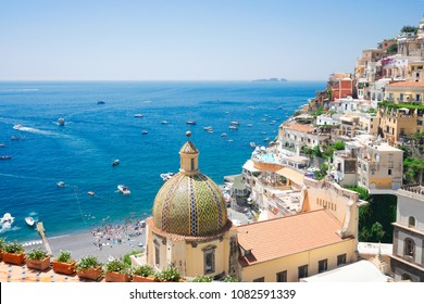 view of Positano - famous old italian resort at summer, Italy