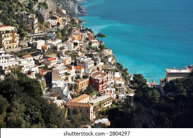 View of Positano, a town in the Amalfi's coast in Italy. UNESCO World Heritage Site