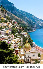 view of Positano town on the Amalfi coast, Italy