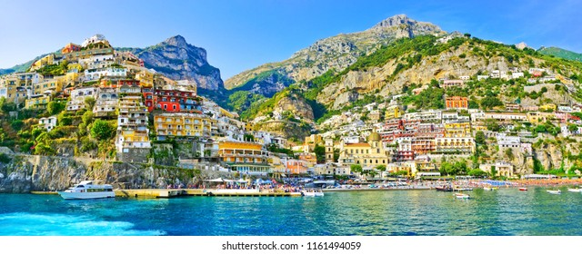 View of Positano village along Amalfi Coast in Italy in summer. - Shutterstock ID 1161494059