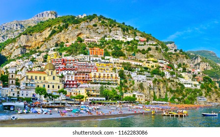 View of Positano village along Amalfi Coast in Italy in summer.