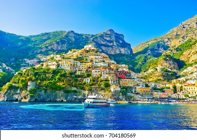 View of Positano village on a sunny day along Amalfi Coast in Italy.