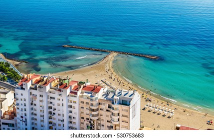 View of Postiguet Beach in Alicante, Spain