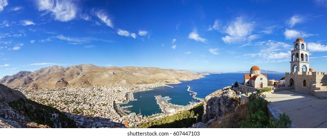 View of Pothia Town, the capital of Kalymnos, Greece, from Monastery of Agios Savvas located on top of a hill above Pothia