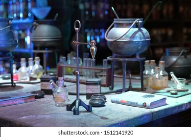 View of the Potions classroom at Hogwarts school. A Felix Felicis potion is displayed. Taken at Warner Bros. Harry Potter Studio Tour Drive, Leavesden WD25 7LR, UK, September 2, 2019
