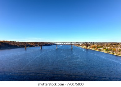 View of the Poughkeepsie Railroad Bridge, also known as Walkway over the Hudson. It is the world's tallest pedestrian bridge