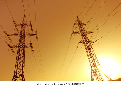 view of the power lines at sunset