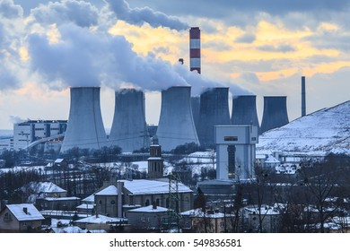 view of the power plant in Laziska