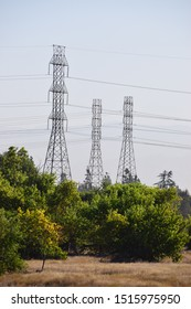 View of power towers in Bakersfield from Kern River Parkway trail.