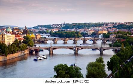 view of Prague and its bridges crossing the Vltava river