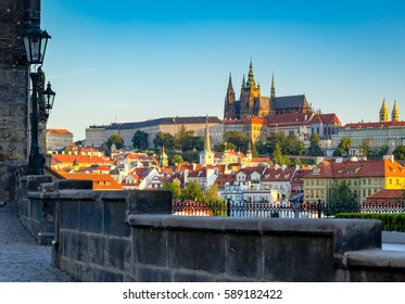 View of Prague castle from Charles Bridge on morning