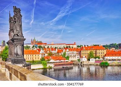 View of Prague Castle from Charles Bridge.Czech Republic.