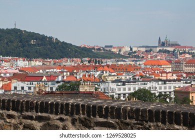 View of the Prague Castle and hill Petrin from Vysehrad in Prague
