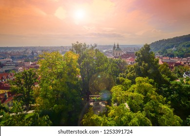 View from the Prague Castle overlooking St. Nicholas Church at Sunset time.