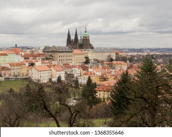 View to Prague Castle from Petrin hill. Unusual view of old town and Prague castle, Czech Republic. On the photo is saint Vitus cathedral and Prague old town with Nerudova ulice and Mala Strana. - Shutterstock ID 1368355646