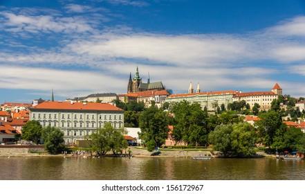 View of Prague Castle (Prazsky hrad) with St. Vitus Cathedral