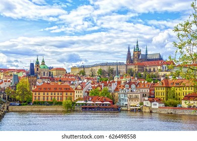 View of the Prague Castle and St. Vitus Cathedral from the Vltava River, Bohemia, Prague, Czech Republic.