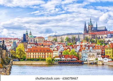 View of the Prague Castle and St. Vitus Cathedral from the Vltava River, Bohemia, Prague, Czech Republic
