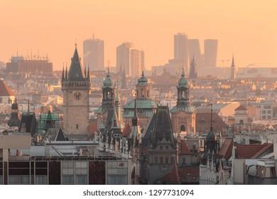 View Prague city center with Old town Square, Orloj clock and Pankrac skyscrapers, Prague, Czech Republic