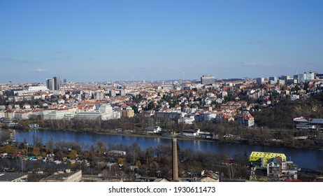 View of Prague Cityscape in Czechia ( Czech Republic ) on a Beautiful Sunny Day with Vltava River
