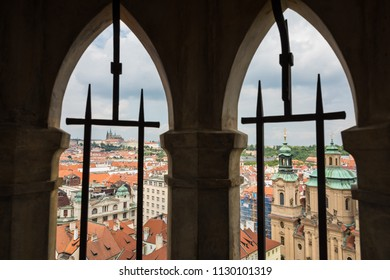 View from Prague Old Town hall tower to the castle and st. Nicholas church.