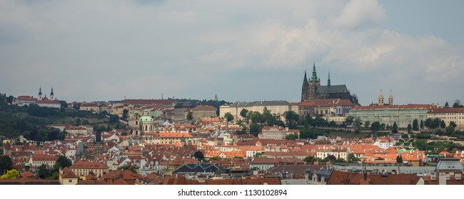 View from Prague Old Town hall tower to the castle and st. Vitus Cathedral.