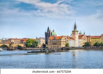 View of Prague and Vltava river in summer.Czech Republic