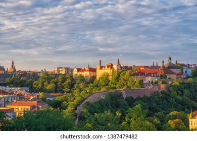 View of Prague/Czech Republic in the evening from Park Vysehrad