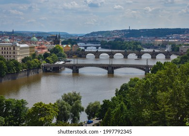 View at Prague's bridges from Letna . - Shutterstock ID 1997792345