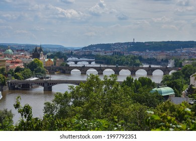 View at Prague's bridges from Letna . - Shutterstock ID 1997792351