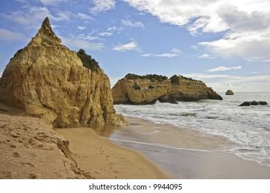 View at Praia da Rocha beach in the Algarve in Portugal