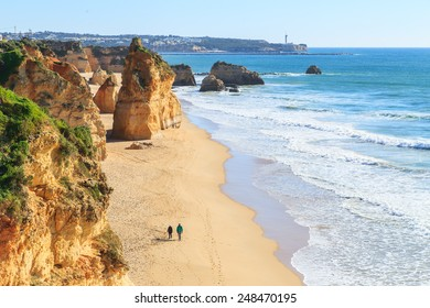 View of Praia da Rocha in Portimao, Algarve region, Portugal