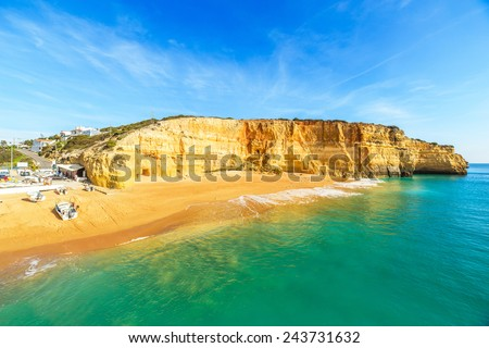 A view of a Praia de Benagil near Portimao in Algarve region, Portugal, Europe