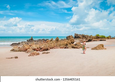 View of Praia de Tambaba beach, Costa do Conde. Rock formations on the beach. Beautiful Brazilian northeast beach. Conde PB, brazil.