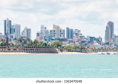 View of Praia de Tambau beach and the city on background at Joao Pessoa PB Brazil. Touristic beach of Brazilian northeast. View from the sea to the city.