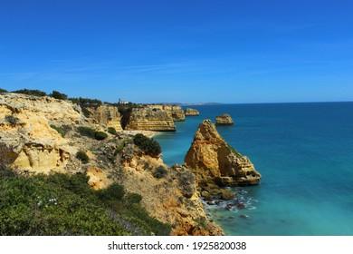 View of Praia do Carvalho, Algarve, Portugal