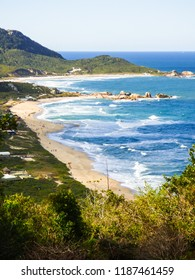 A view of Praia Mole (Mole beach) from above - popular beach in Florianopolis, Brazil