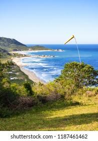 A view of Praia Mole (Mole beach) from above - popular beach in Florianopolis, Brazil