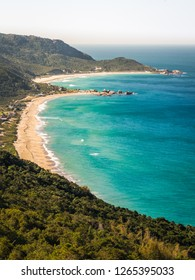 View of Praia Mole and Galheta beaches from the top of cliffs, in Florianopolis, Brazil.