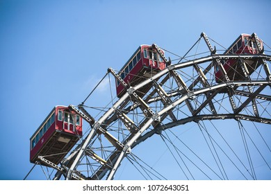 View of Prater Ferris Wheel, Vienna, Austria among spring green trees