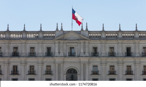 View of the presidential palace, known as La Moneda, in Santiago, Chile. This palace was bombed in the coup of 1973