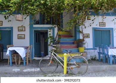 A view of pretty blue & white cafe