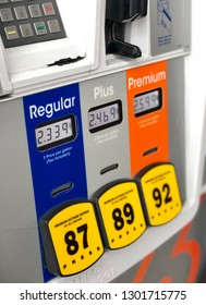 View of prices at the gas pump for various octane levels