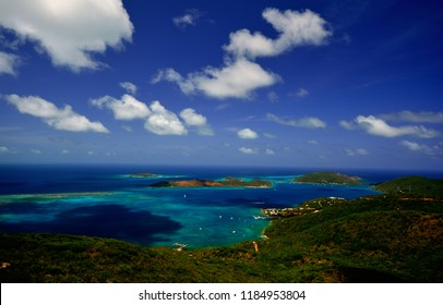 View of Prickley Pear, Eustatia and Necker Islands from Hog Heaven Restaurant on Virgin Gorda, British Virgin Islands.