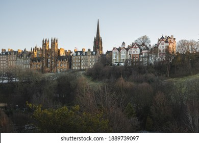 View from Princes Street Gardens of Edinburgh old town skyline and  Ramsay Garden, on Castlehill on a clear day in the Scotland capital city.