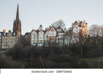 View from Princes Street Gardens of Ramsay Garden, a block of private apartment buildings in the Castlehill area of Edinburgh old town, Scotland.