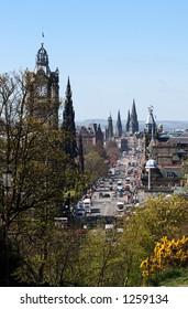 A view of Princes Street, the main thoroughfare of Edinburgh, the capital city of Scotland
