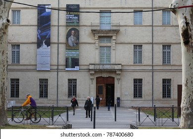 View of the principal facade of Fabre museum in Montpellier France. Alley leading to the entry of the old building. The picture has been taken on 5th january 2018.