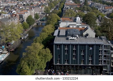 View of the Prinsengracht and the Anne Frank House in Amsterdam, Netherlands