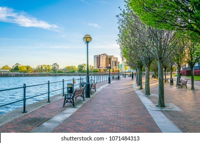 View of a promenade next to Irwell river in Salford, England